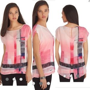 WHBM Colorblock Double Layer Top